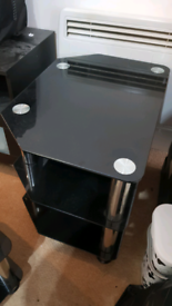 Black glass end tables
