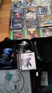 PS1 Original playstation with carrying case FF7+12games