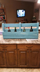 Distressed Teal Wine Rack