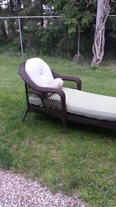 Patio brown wicker lounge chair