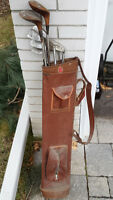 Primitive Golf Clubs with Bag – c1950's – Great Decor Piece