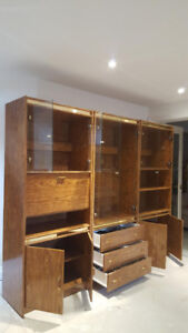 Wall Unit with Accent Lighting; Mini-Bar; Storage; Glass Shelves
