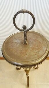 ANTIQUE PEDESTAL BRASS SIDE TABLE Strathcona County Edmonton Area image 2