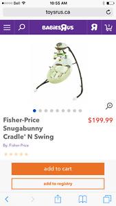 Fisherprice snugabunny swing/bouncer & playmat