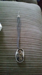 Beautiful silver and stone pendant necklace