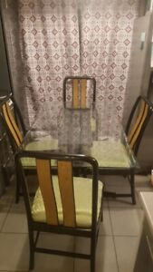 Rectangular Glass Dining Table and Four Chairs