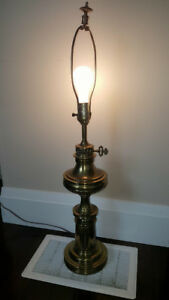 Vintage Stiffel Large Brass Table Lamps Hollywood Regency