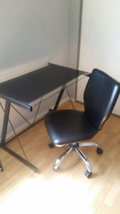 Modern black glass desk and rolling chair for sale- NOW REDUCED