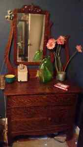 1800s antique dresser and mirror