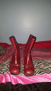 Red zip up boots size 9