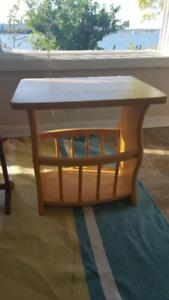 small pine side table/magazine rack