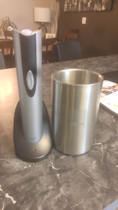 Electronic wine bottle opener and wine cooler