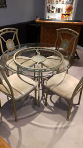 Attractive Modern Glass Dining Table & 4 Fabric Chairs