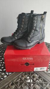 Women's GUESS Bethie Combat Boots Black Size 6.5