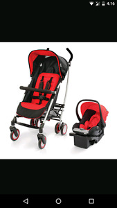Red urbini stroller and carseat/base
