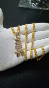 """Iced Gold Plated Plug Pendant + 5mm 30"""" Chain"""