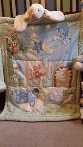Crib comforter set + sheets + window valance ++