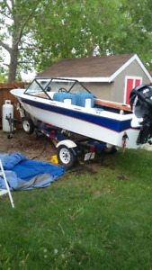 17 Ft fiberglass boat and trailer going for an awesome price!