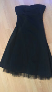 Black Satin Smart Set Strapless Dress! Size 5 (size S)