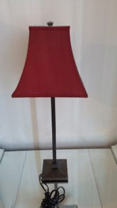 Red shade accent table lamp