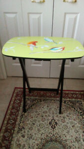 SIDE TABLE  SOLID WOOD c/w  UNIQUE  BIRD PAINTING
