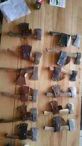 Quality vintage hatchets with hand made leather sheaths