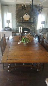 Antique barley twist, extendable table, and 8 chairs