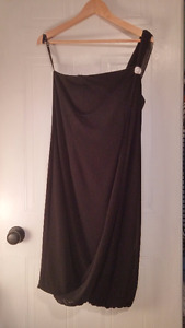 One-Shoulder Black Dress with Jewel Detail, Great Condition