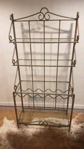 Grey wrought iron and glass bakers rack w/ wine storage