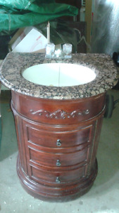 Single vanity sink cabinet with faucet
