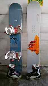 Snowboards,boots and bindings.