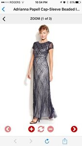 Adrianna Papell Cap-Sleeve Beaded Illusion Gown (12-14)