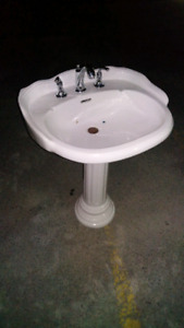 Pedatel sink with faucet
