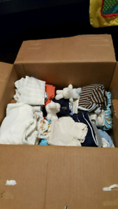 Box of newborn to 3 month boys clothes