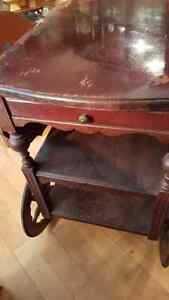 Antique dropleaf tea wagon serving trolley with a drawer West Island Greater Montréal image 2