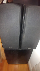 Pair of quest speakers one Quest 8 inch subwoofer powered