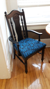Vintage Dining Chairs, hand painted and upholstered