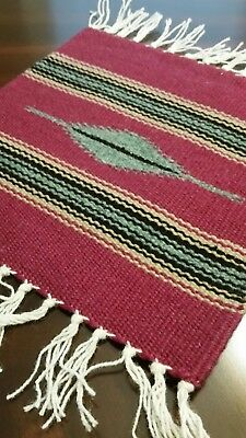 Chimayo 100% Wool Textile 10 X 10 Wine  Colored  Weaving Made in New Mexico