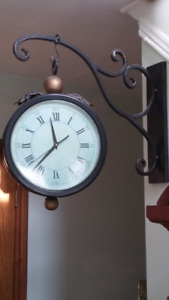 WROUGHT IRON DOUBLE SIDED HANGING STATION CLOCK $55