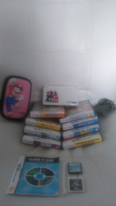 Nintendo DS console + games + protective case + screen protector