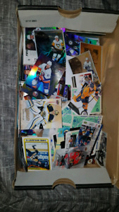 Shoe box full of NHL and Mooseheads Hockey Cards
