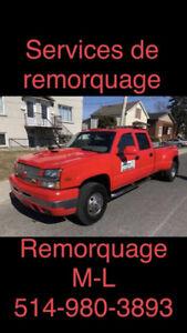 remorquages a 65$ 514-980-3893 24.7