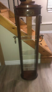 Antique wood/glass shelving stand
