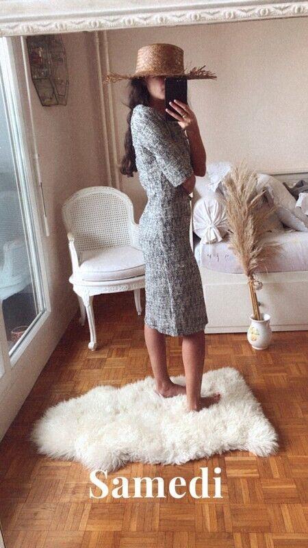 Robe mango suit en tweed au genoux hiver taille xs