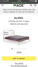 Alana double bed in copper from Made and memory foam mattress