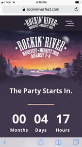 2 Rockin' River General Admission Full Weekend Passes $450