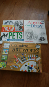 Books  and a set for drawing