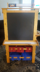 Children's art easel with chalkboard