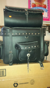 Leather Saddle Bag Bike Set