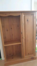 Pine console storage shelving unit